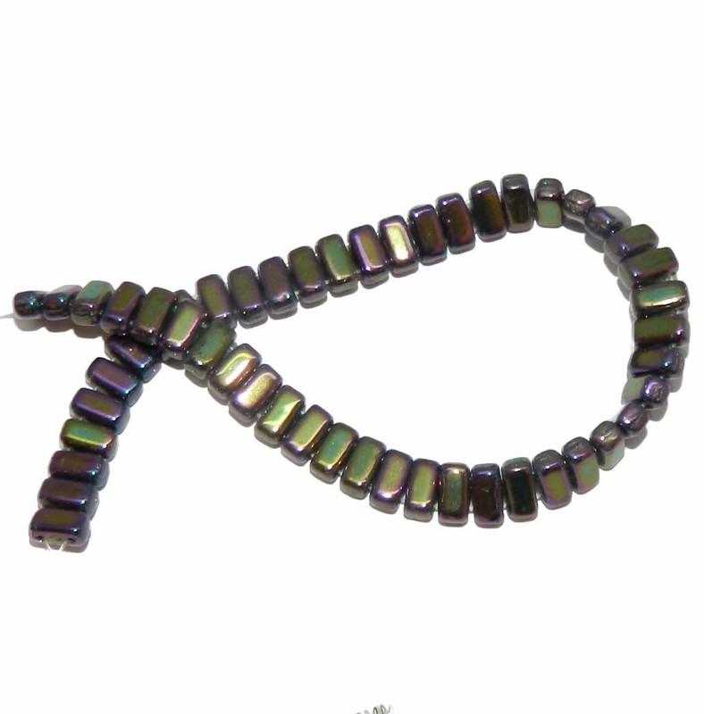 Iris Purple Brick 3x6mm Square Glass Czech Two Hole 50 Tile Beads