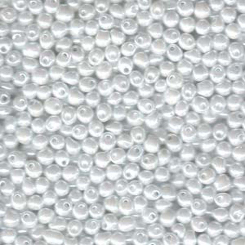 White Ceylon Miyuki 3.4mm Fringe Seed Bead Glass Tear Drops 25 Gram