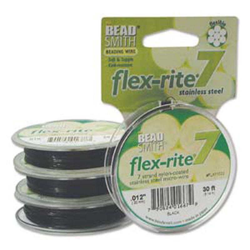 """Black Flex Rite Beading Wire .012"""" 30' 7 strand 8lb Break"""