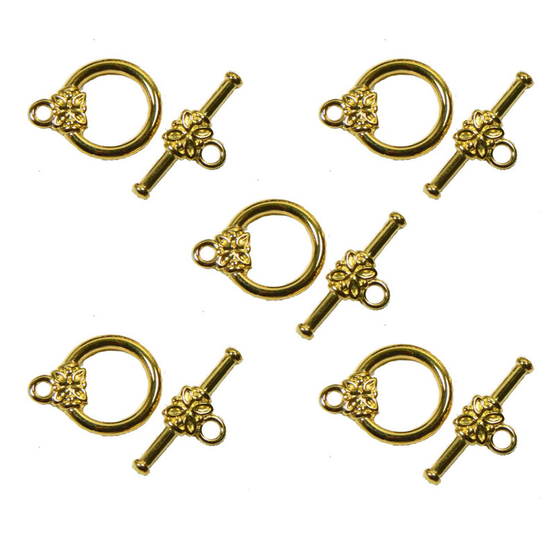 19 Gold Plated Brass Jewelry Toggle Clasps 14mm Flower Design Findings 5720FY