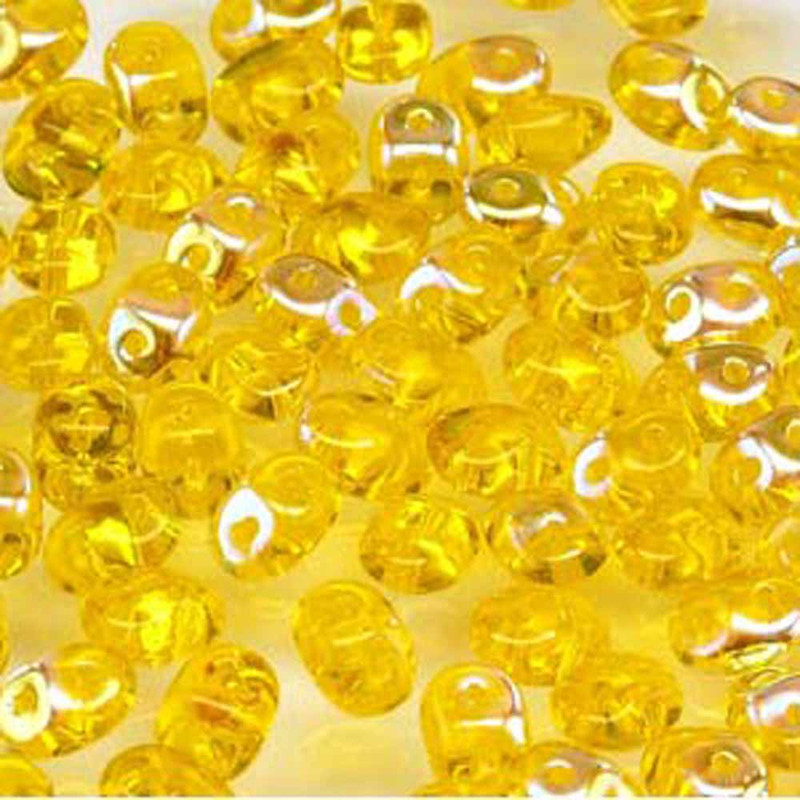 Amber AB SuperDuo Czech Two Hole Seed Beads 2.5x5mm 20gr