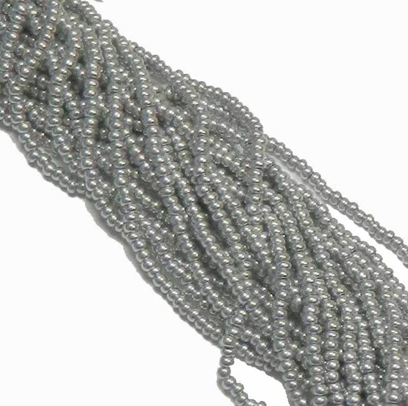 Bright Silver Metallic Preciosa Czech Glass 6/0 Seed Bead on Loose Strung 6 String Hank SB6-01700
