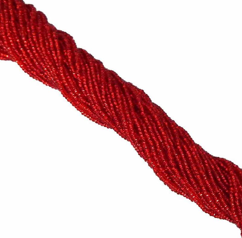 Light Ruby Red Silver Lined Czech 8/0 Glass Seed Beads 12 Strand Hank Preciosa SB8-97070