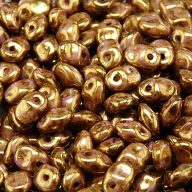 Senegal Brown/Purple 2.5x5mm 1 ONE Hole Fringe Czech Glass Seed Beads 20gr