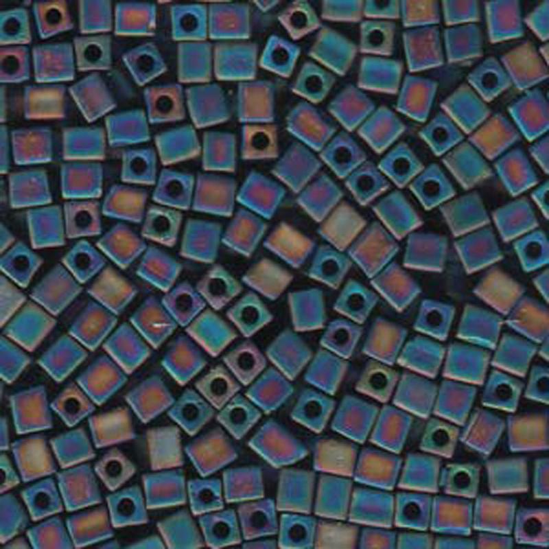 20Gr Black Opaque Ab Matte Miyuki 4mm Square Cube Glass Seed Beads