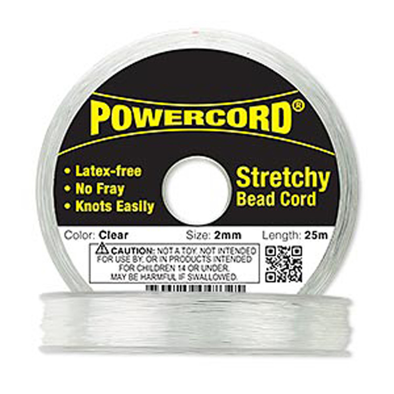 Powercord® Elastic Stretch Cord Clear 2mm 21.5 lb Test 25-Meter Latex-Free 1710BS