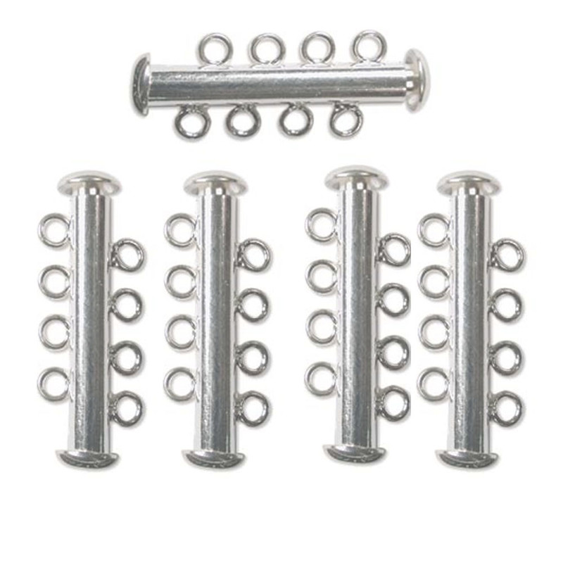 10 Pack Multi 4 Strand Slide Lock Clasps Silver Plated Brass CLSP21SP