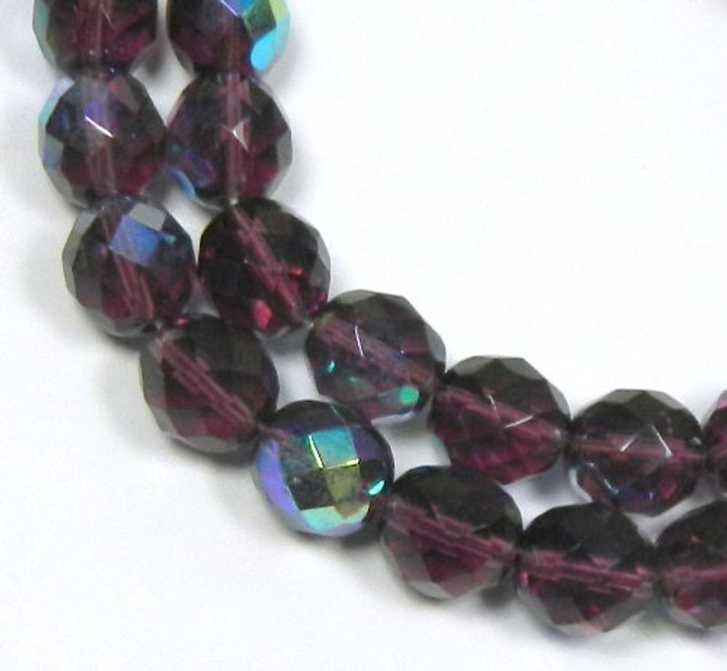 """Amethyst Purple Ab Czech 10mm Faceted Round Firepolished Glass Beads 16"""""""