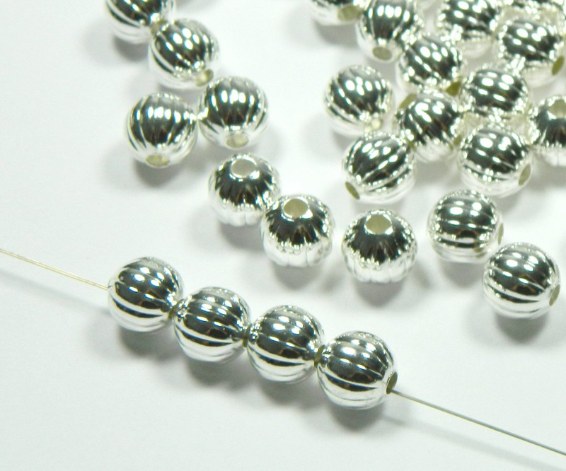 100 Shiny Silver Plated Brass Beads 10mm Corrugated Round Jewelry Spacer Bead 2893MB