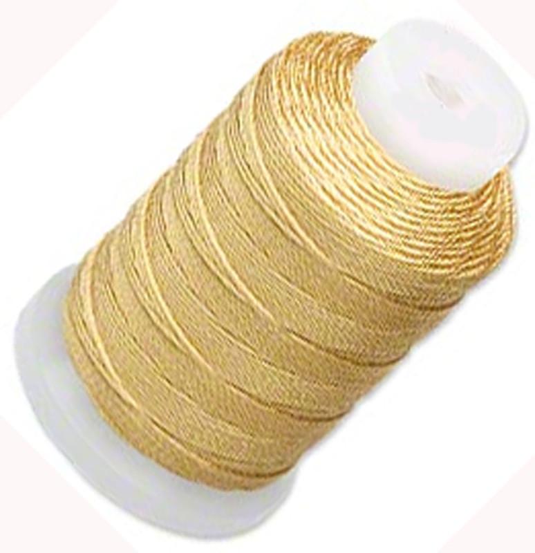 Silk Beading Thread Cord Size F Gold 0.0137 0.3480mm Spool 140 Yd 5063BS