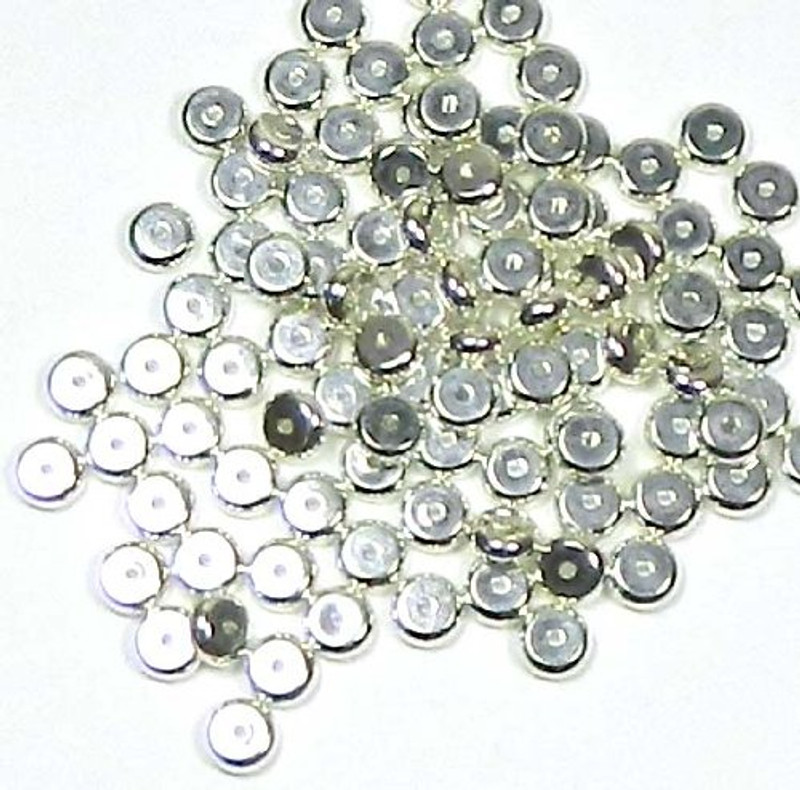 100 Shiny Silver Plated Brass Beads ,6mm Heishi. Jewelry Spacer Metal Bead 100