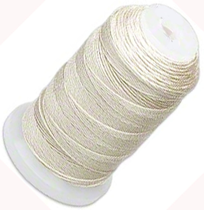 Silk Beading Thread Cord Size FF Ecru 0.015 Inch 0.38mm Spool 115 Yd 5200BS