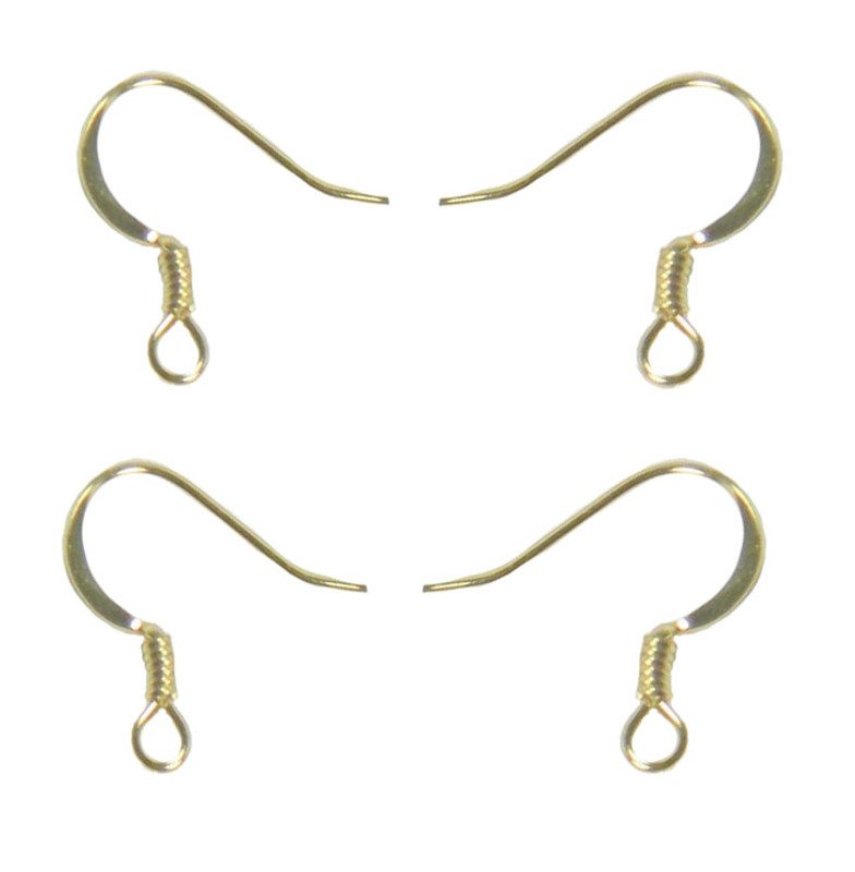 200 Surgical Steel Earring Earwires 16mm Hypoallergenic Shiny Gold Plated Fishhook Flat Side Coil 100 Pairs 200 9222FY