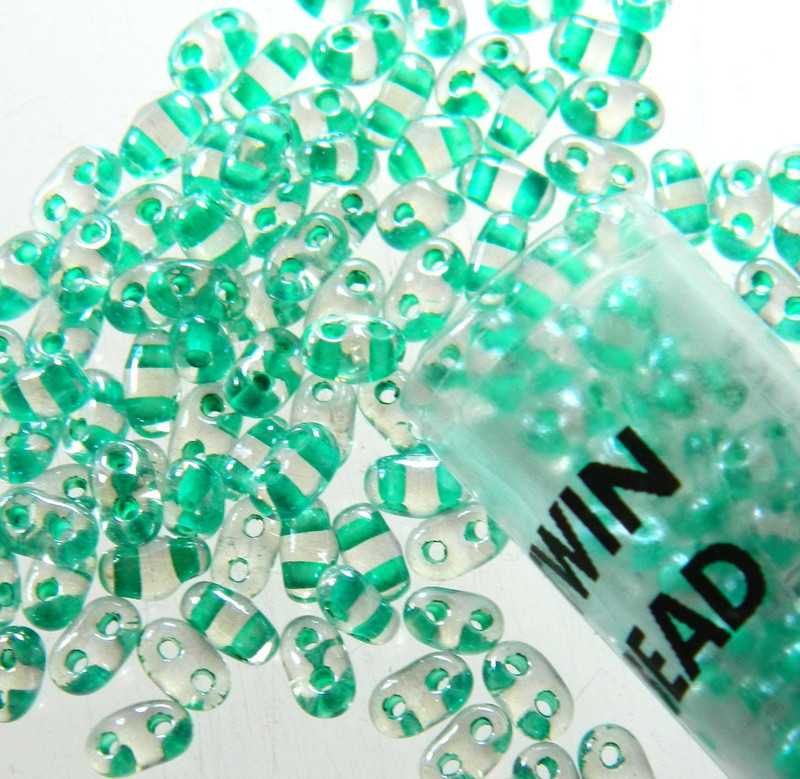 Color Lined Green 2.5x5mm 2 Hole Twin Beads Czech Glass Seed Beads 23 Gram Tube