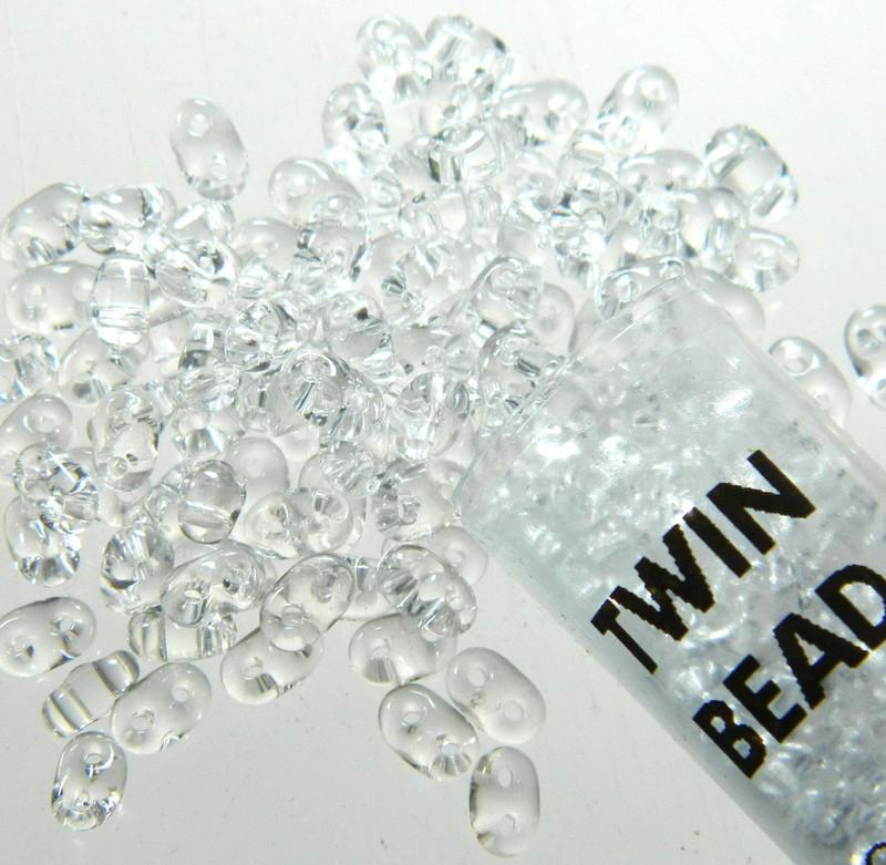 Crystal Clear 2.5x5mm 2 Hole Twin Beads Czech Glass Seed Beads 23 Gram Tube