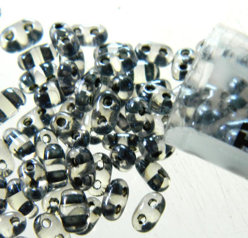 Dark Grey 2.5x5mm 2 Hole Twin Beads Czech Glass Seed Beads 23 Gram Tube