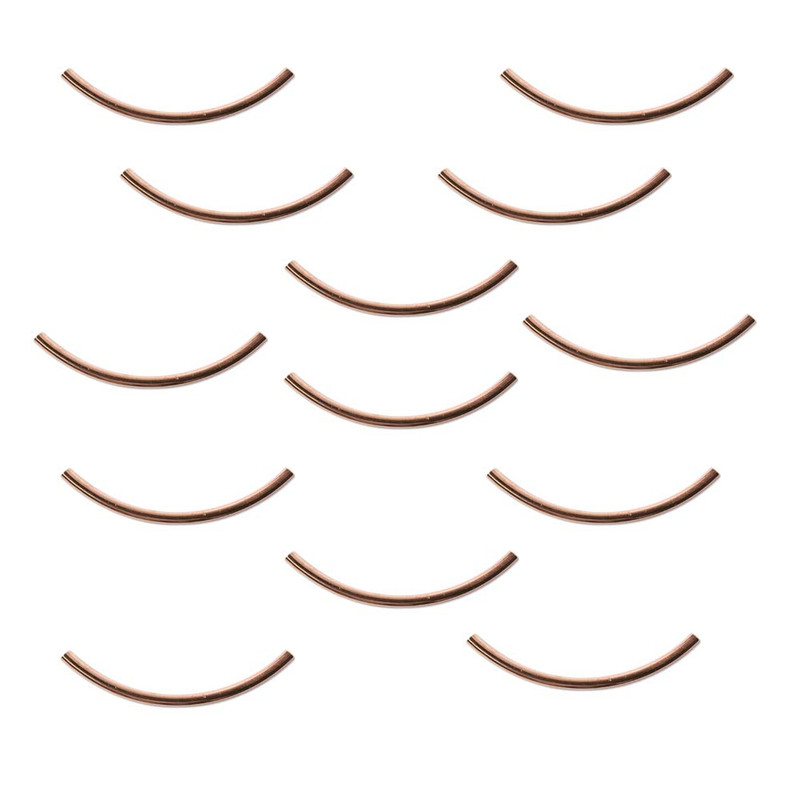 144 Copper Plated Brass Curved Tube beads 2x38mm Spacer Metal Bead