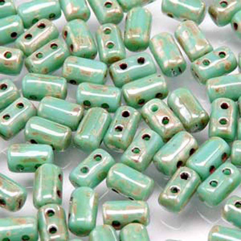 Rulla TURQUOISE GREEN PICASSO Czech Glass Seed Beads 3x5mm 20 Gram Tube (2 Hole)