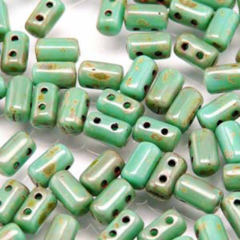 Rulla TURQUOISE GREEN TRAVERTINE DARK Czech Glass Seed Beads 3x5mm 20 Gram Tube (2 Hole)