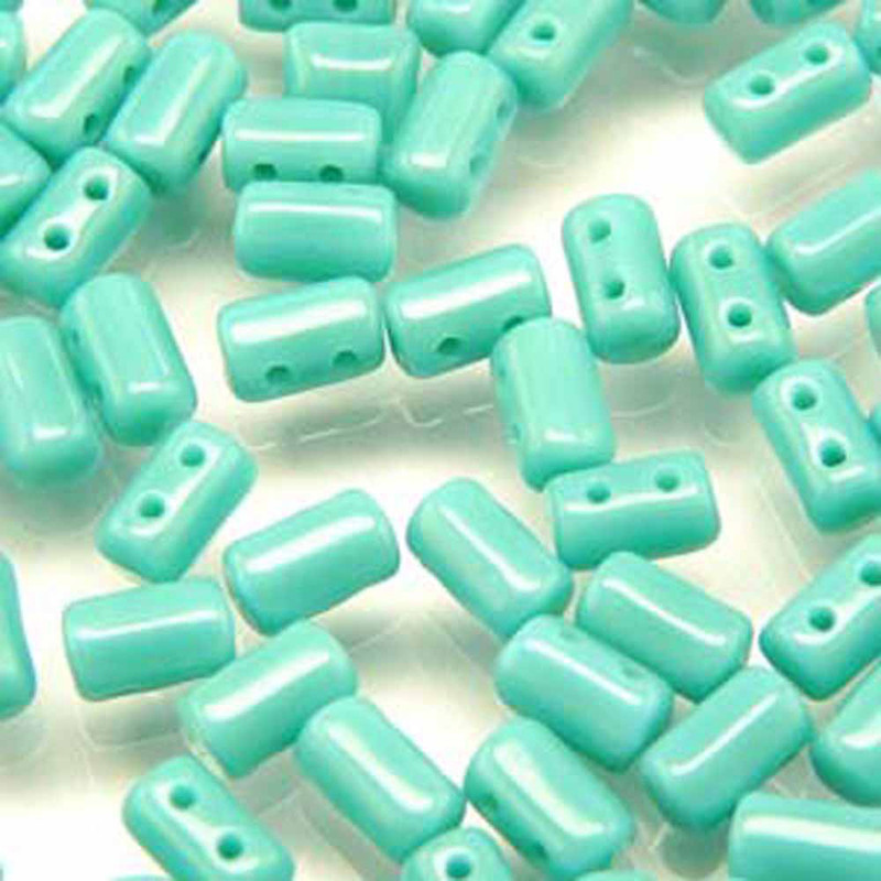 Rulla TURQUOISE GREEN Czech Glass Seed Beads 3x5mm 20 Gram Tube (2 Hole)