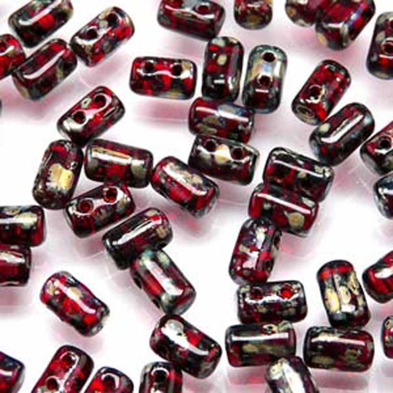 Rulla RUBY PICASSO Czech Glass Seed Beads 3x5mm 20 Gram Tube (2 Hole)