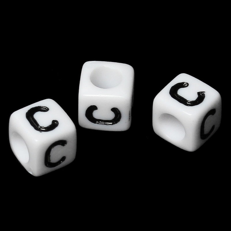 "100 Letter ""C"" Black on White Acrylic Alphabet Cube Spacer Beads 6mm Approx 1/4 Inch RB58823"