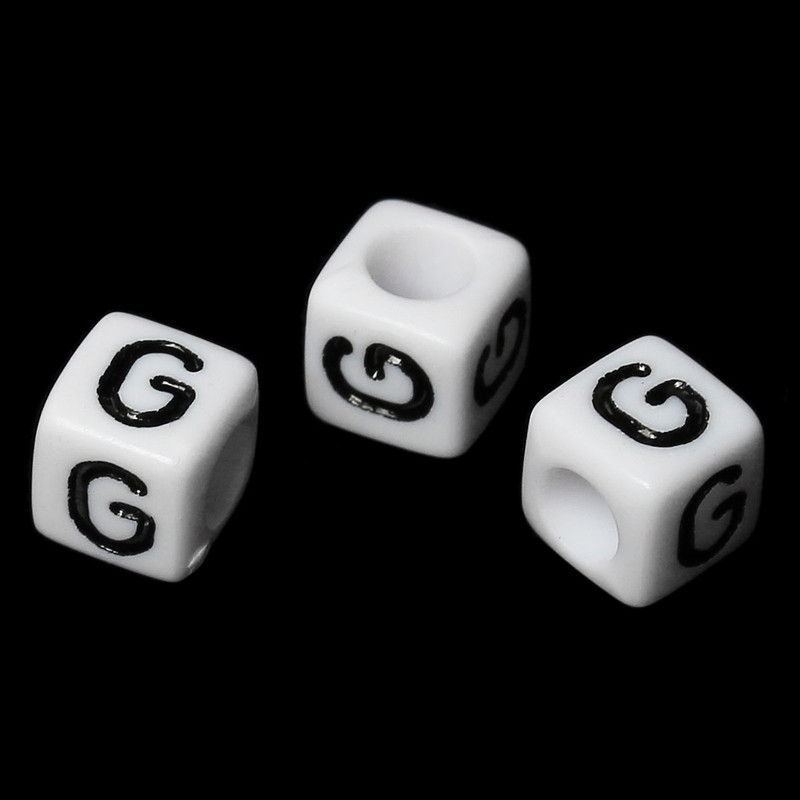 "100 Letter ""G"" Black on White Acrylic Alphabet Cube Spacer Beads 6mm Approx 1/4 Inch RB58827"