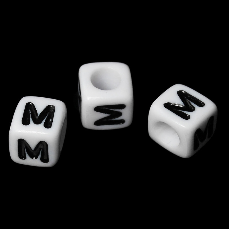 "100 Letter ""M"" Black on White Acrylic Alphabet Cube Spacer Beads 6mm Approx 1/4 Inch RB58833"