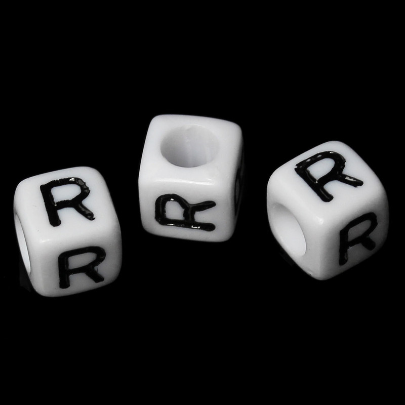 "100 Letter ""R"" Black on White Acrylic Alphabet Cube Spacer Beads 6mm Approx 1/4 Inch RB58838"