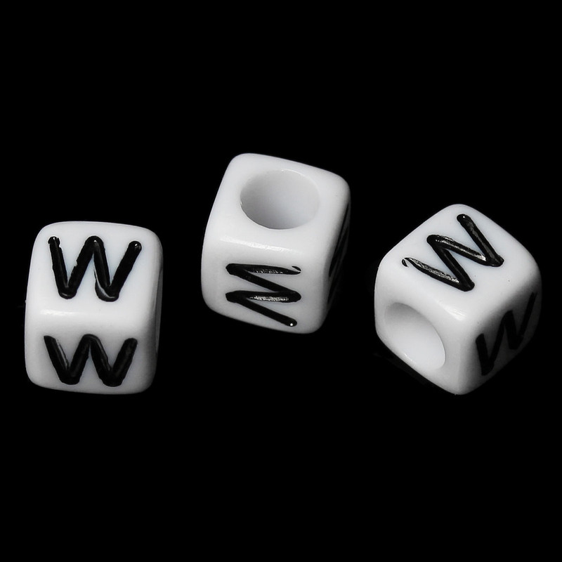 "100 Letter ""W"" Black on White Acrylic Alphabet Cube Spacer Beads 6mm Approx 1/4 Inch RB58843"