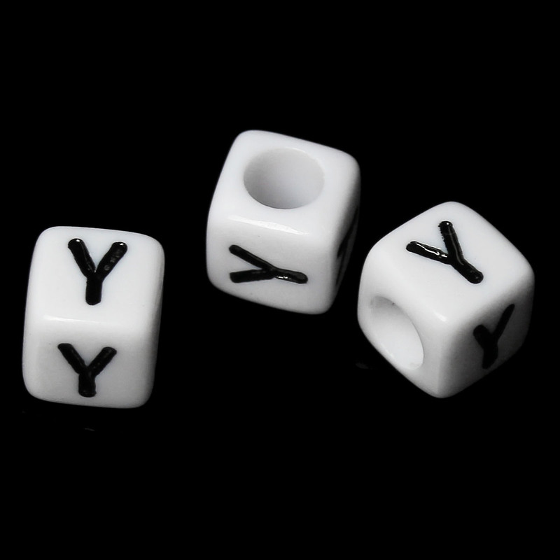 """100 Letter """"Y"""" Black on White Acrylic Alphabet Cube Spacer Beads 6mm Approx 1/4 Inch RB58845"""