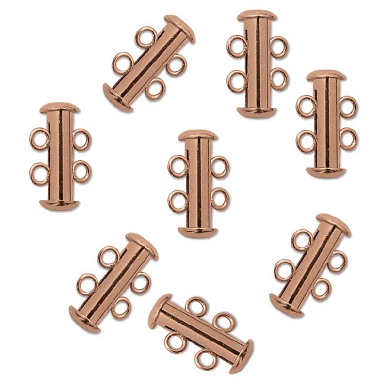 10 Pack Multi 2 Strand Slide Lock Clasps Copper Plated Brass CLSP03CP