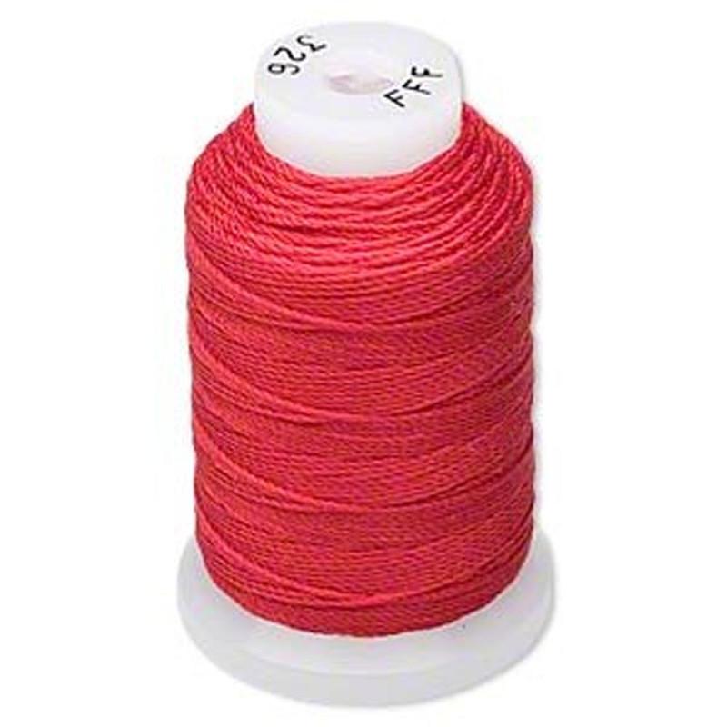 Silk Beading Thread Cord Size FFF (0.016 Inch 0.42mm) Spool 92 Yd(Red) 5031BS