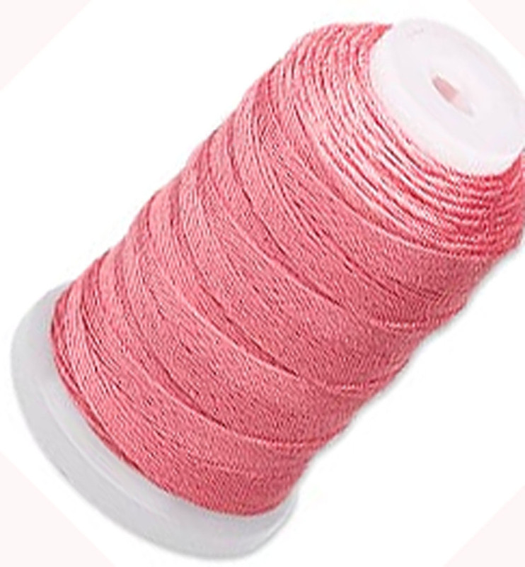 Simply Silk Beading Thick Thread Cord Size FFF (0.016 Inch 0.42mm) Spool 92 Yards Compatible with Kumihimo Super Lon (Coral) 5175BS