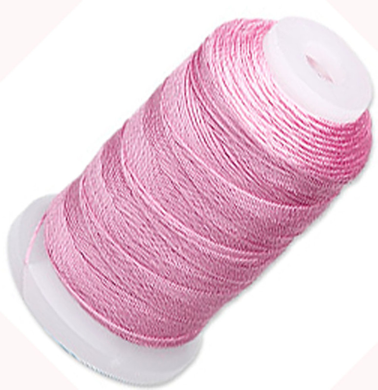 Simply Silk Beading Thick Thread Cord Size FFF (0.016 Inch 0.42mm) Spool 92 Yards Compatible with Kumihimo Super Lon (Strawberry Pink) 5049BS