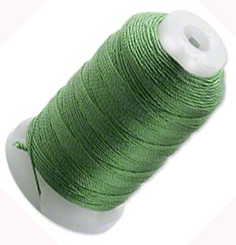 Simply Silk Beading Thick Thread Cord Size FFF (0.016 Inch 0.42mm) Spool 92 Yards Compatible with Kumihimo Super Lon (Dark Green) 5085BS