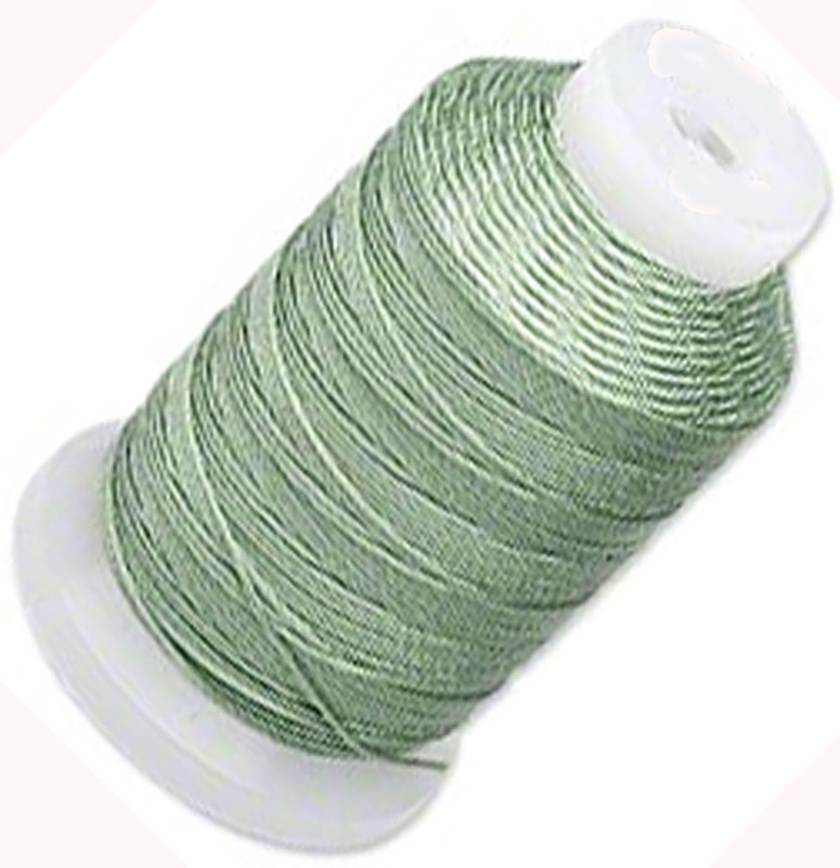 Simply Silk Beading Thick Thread Cord Size FFF (0.016 Inch 0.42mm) Spool 92 Yards Compatible with Kumihimo Super Lon (Med Green) 5094BS