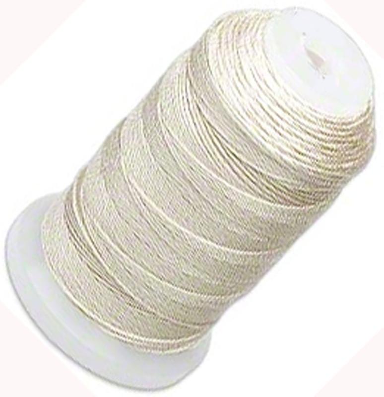 Silk Beading Thread Cord Size FFF (0.016 Inch 0.42mm) Spool 92 Yd(Ecru) 5202BS