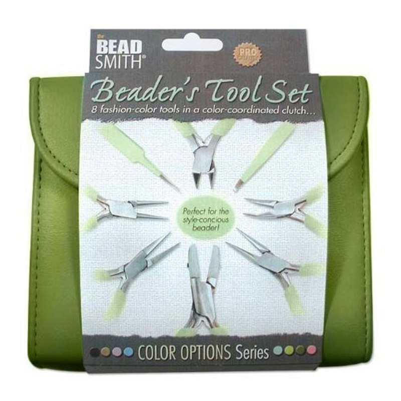 Beadsmith 8 Fashion- Olive Color Tool Set for Making Jewelry +Clutch Carry Case PLFAS07
