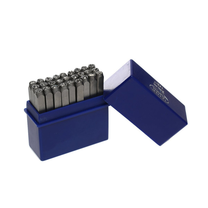 "27 Letter with & Sign Stamp Punch Set 1/8"" 3mm Hardened Steel for Metal Wood, Leather RB34098"