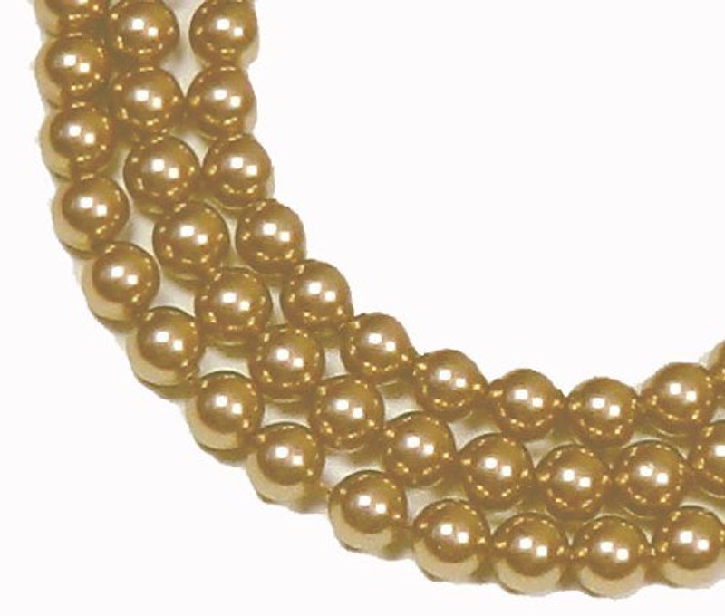 "100 Swarovski Crystal Pearls 4mm Round Beads 5810. 16"" Loose Strand Bright Gold 581004GLDBRT"