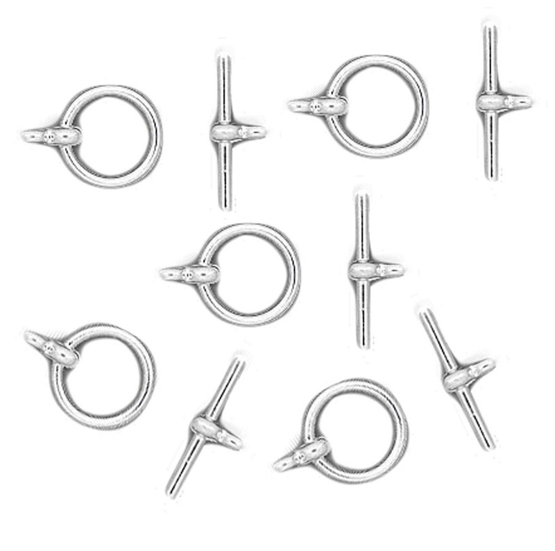19 Shiny Silver Plated Brass Jewelry Toggle Clasps 12mm Basic Findings 5739FY