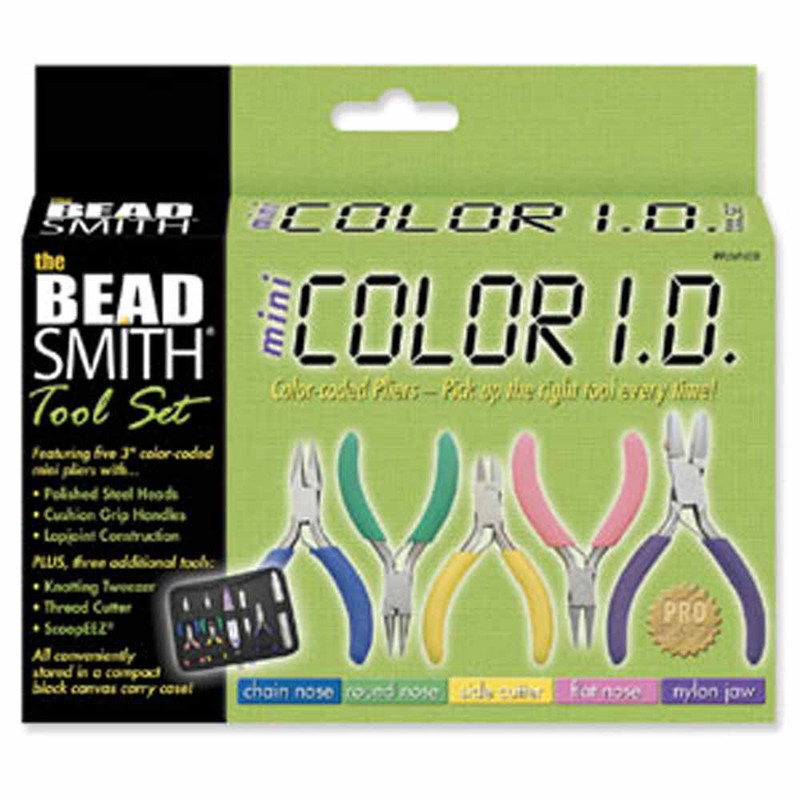 BeadSmith Mini 8 Piece Jewelery Making Color ID Plier set