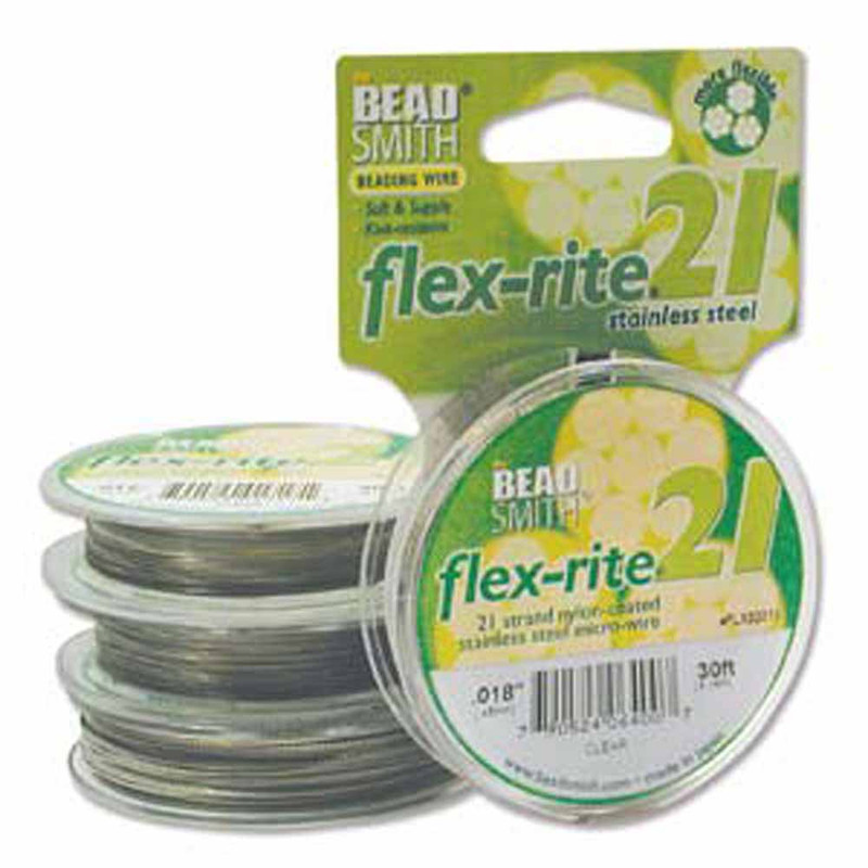 """21 Strand Clear Coated Flex Rite Beading Stringing Wire .018"""" 30' FL21X018CL30"""