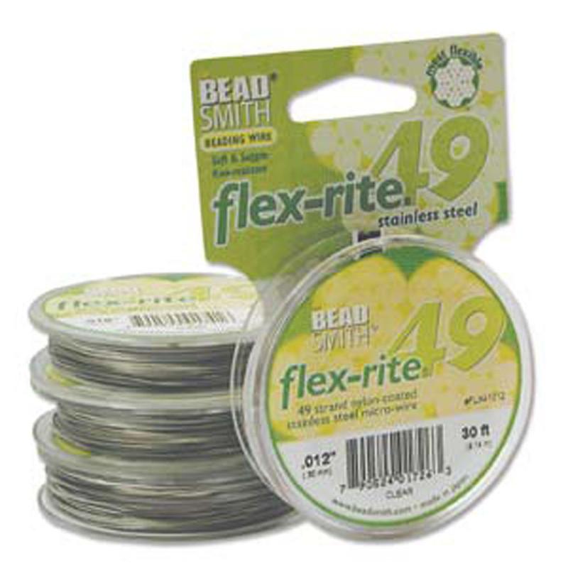 "49 Strand Flex Rite Beading Stringing Wire .012"" 30' Stainless Steel"