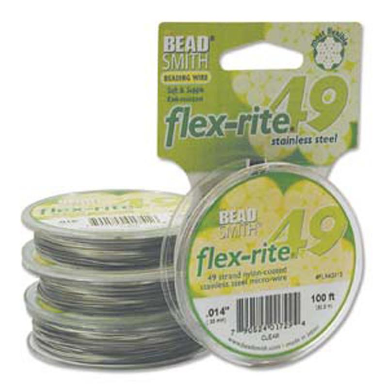 "49 Strand Flex Rite Beading Stringing Wire .014"" 100' Stainless Steel"