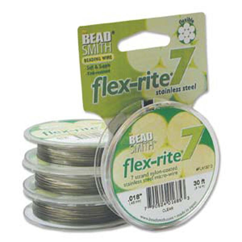 "Clear Coat Flex Rite Beading Wire .018"" 30' 7 strand 20.6lb Break"