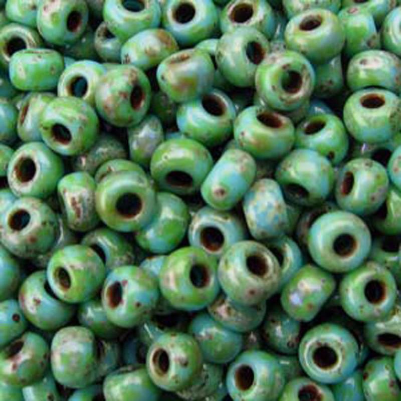 Picasso Seafoam Green 20 Grams Miyuki 6/0 Seed Bead 20 Gram