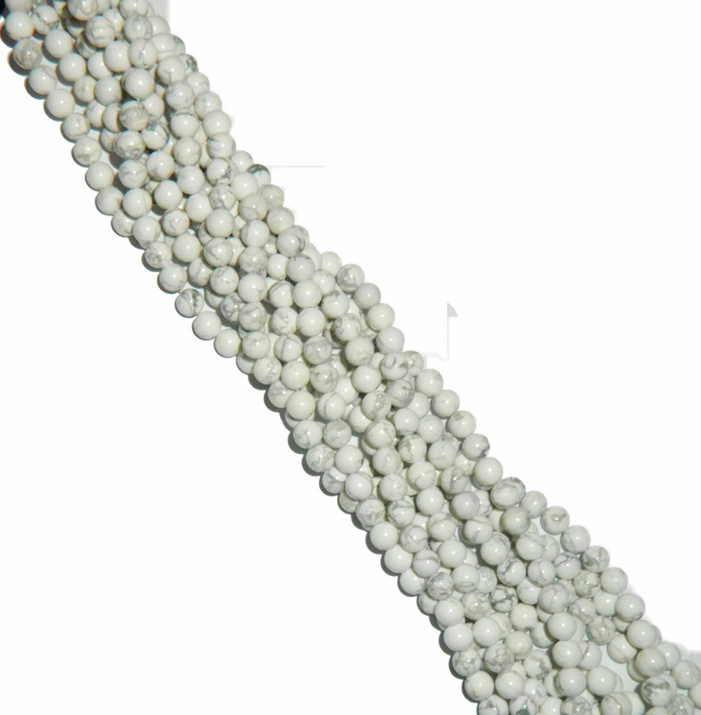 "6mm White Howlite Natural  Round Beads 40cm 15""  Stone B2-6b9"