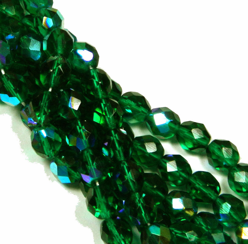 24 Firepolish Faceted Czech Glass Beads 8mm AB  Emerald